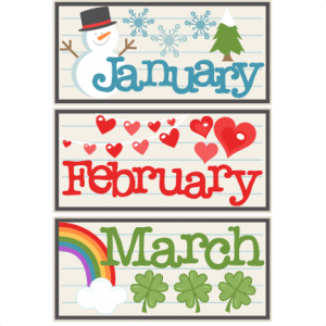 January February March Titles SVG scrapbook cut file cute clipart files for silhouette cricut pazzles free svgs free svg cuts cute cut files