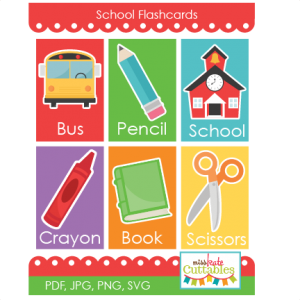 School Flashcards Printables  SVG scrapbook cut file cute clipart files for silhouette cricut pazzles free svgs free svg cuts cute cut files