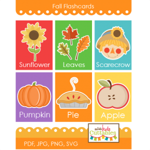 Fall Flashcards Printables  SVG scrapbook cut file cute clipart files for silhouette cricut pazzles free svgs free svg cuts cute cut files