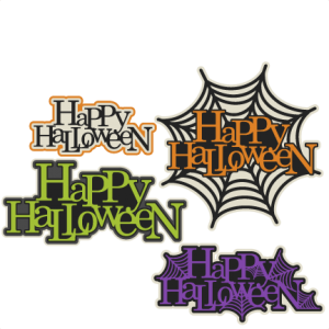 Happy Halloween Title Set  SVG scrapbook cut file cute clipart files for silhouette cricut pazzles free svgs free svg cuts cute cut files