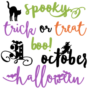 Halloween Words Set  SVG scrapbook cut file cute clipart files for silhouette cricut pazzles free svgs free svg cuts cute cut files