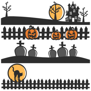 Halloween Scene Borders SVG scrapbook cut file cute clipart files for silhouette cricut pazzles free svgs free svg cuts cute cut files
