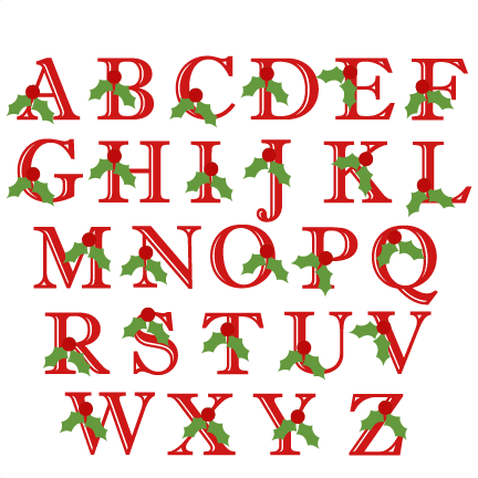holly uppercase alphabet christmas svg scrapbook cut file Fun Printable Alphabet Letters Alphabet Pictures for Each Letter