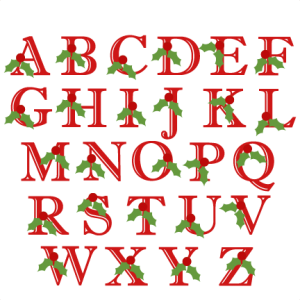 Holly Uppercase Alphabet Christmas SVG scrapbook cut file cute clipart files for silhouette cricut pazzles free svgs free svg cuts cute cut files