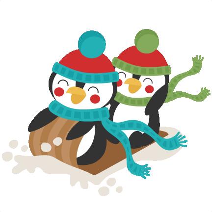 penguins sledding winter svg scrapbook cut file cute