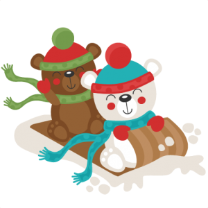 Christmas Polar Bear Sledding  SVG scrapbook cut file cute clipart files for silhouette cricut pazzles free svgs free svg cuts cute cut files