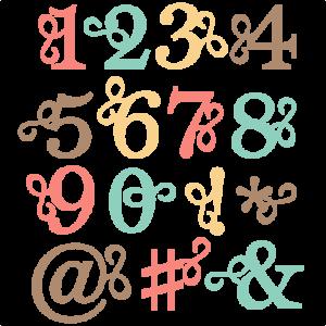 Flourish Number Set SVG scrapbook cut file cute clipart files for silhouette cricut pazzles free svgs free svg cuts cute cut files
