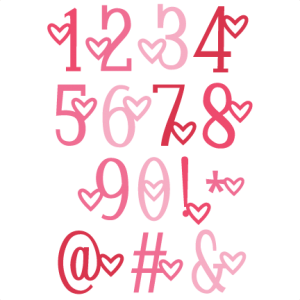 Heart Number Set SVG scrapbook cut file cute clipart files for silhouette cricut pazzles free svgs free svg cuts cute cut files