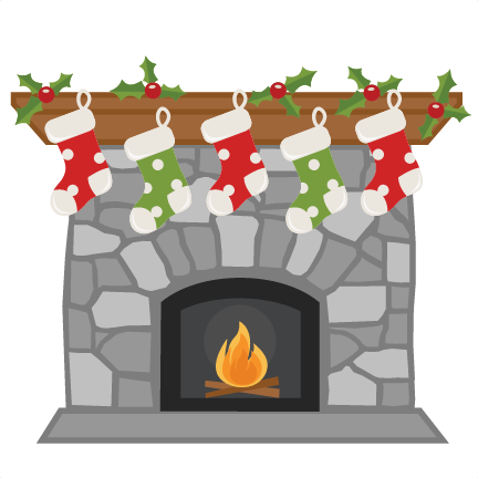Christmas Fireplace With Stockings Svg Scrapbook Cut File