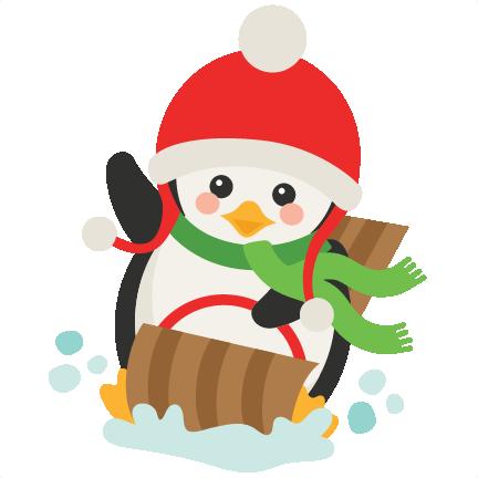 sledding penguin svg scrapbook cut file cute clipart files