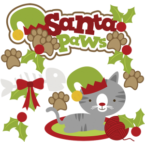 Santa Paws SVG cat clipart cat svg cute cat clip art christmas svg