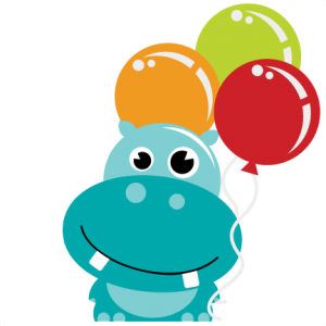 Hippo Holding Balloons SVG scrapbook file hippo svg file hippo svg cuts hippo cut file for scrapbooking
