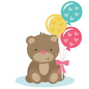 Bear Holding Balloons SVG files for scrapbooking cardmaking cute svg cuts free svgs free svg cuts
