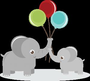 Elephants Holding Balloons SVG elephant clipart cute clip art cute elephant svg files for cutting machines