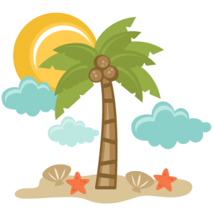 Beach Scene SVG files for scrapbooking palm tree svg file starfish svg file sun svg file seashell svg file
