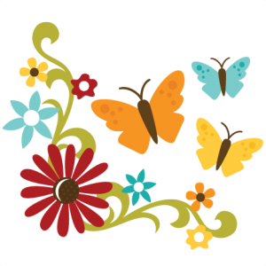 Flowers With Flourish & Butterflies SVG files for scrapbooking free svg files free svgs flower svgs