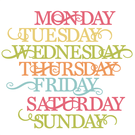 Days Of The Week SVG cut files for scrapbooking cardmaking week days ...