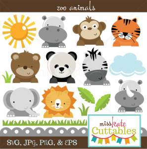Zoo Animals SVG cut files for scrapbooking zoo svg files lion svg tiger svg bear svg cut file