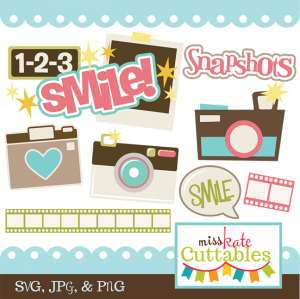 Smile!  SVG scrapbook title camera svg file cute svg cut files free svgs
