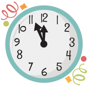 New Year's Clock SVG scrapbook title new years svg cut files balloons svg cuts
