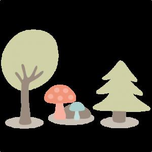 Woodland Scene SVG cutting files tree svg cut files mushroom svg cut files