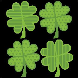 Assorted 4 Leaf Clovers SVG cut files flower scal files free scut files free svgs for scrapbooking