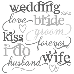 Wedding Word Set SVG cut files wedding svg cut files for scrapbooking