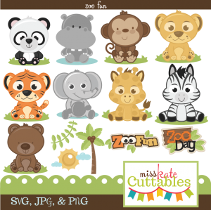 Miss Kate Cuttables Zoo Fun Bundle SVG files for scrapbooking free svg files for cutting machines free svg files
