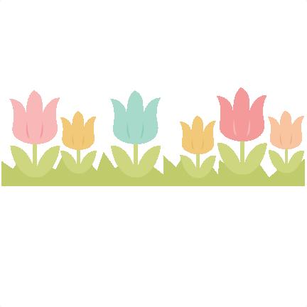 Tulip Border SVG cutting file easter svg cut file spring ... Tulips Clip Art Border
