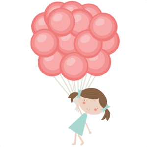 Girl Holding Balloons SVG cutting files for scrapbooking balloon svg cut file birthday svg files for cricut
