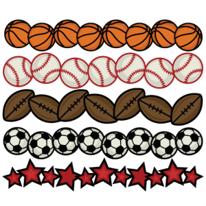 Sports Borders SVG cutting files for scrapbooking sports balls clipart sports svg cut files cricut cut files free svgs