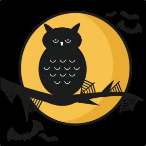 Halloween Owl Scene SVG scrapbook title SVG cutting files crow svg cut file halloween cute files for cricut cute cut files free svgs