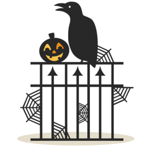 Halloween Fence Scene SVG scrapbook title SVG cutting files crow svg cut file halloween cute files for cricut cute cut files free svgs