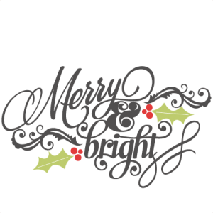 Merry & Bright  SVG scrapbook phrase christmas cut outs for cricut cute svg cut files free svgs cute svg cuts