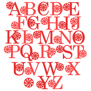 Peppermint Alphabet scrapbook clip art christmas cut outs for cricut cute svg cut files free svgs cute svg cuts