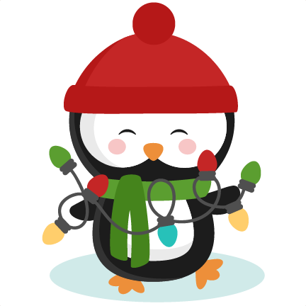 Penguin With Christmas Lights SVG cutting files for ...