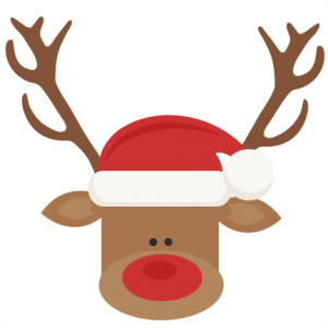 Reindeer With Santa Hat SVG cutting files for scrapbooking cute cut files christmas svg cut files free svgs