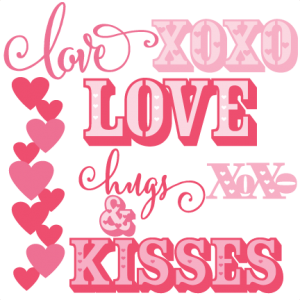 Valentine Word Set scrapbook titles SVG cutting files doodle cut files for scrapbooking clip art clipart doodle cut files for cricut free svg cuts