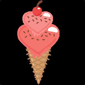 Heart Ice Cream Cone SVG cutting files for scrapbooking free svg cuts cute cut files for cricut cute svgs