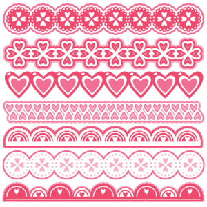 Valentine Borders scrapbook cuts SVG cutting files doodle cut files for scrapbooking clip art clipart doodle cut files for cricut free svg cuts