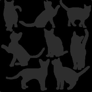 Cat Silhouette Set SVG scrapbook title cat svg cut files kitten svg cut files free svgs free svg cuts