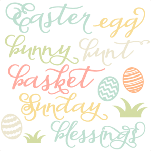 Easter Word Set scrapbook cuts SVG cutting files doodle cut files for scrapbooking clip art clipart doodle cut files for cricut free svg cuts