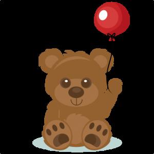 Birthday Bear SVG scrapbook cut file cute clipart files for silhouette cricut pazzles free svgs free svg cuts cute cut files