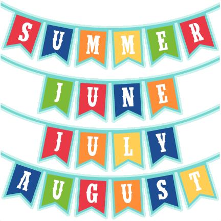 Summer Months Banners SVG scrapbook cut file cute clipart