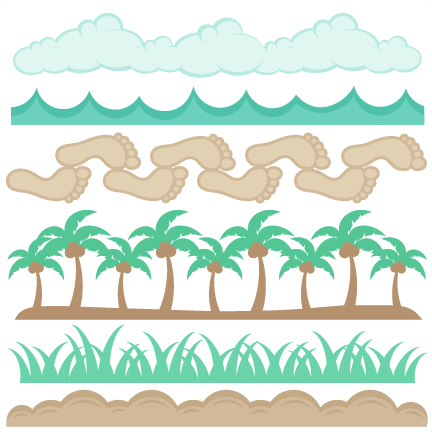 Beach Borders Set SVG Scrapbook Cut File Cute Clipart Files For Silhouette Cricut Pazzles Free Svgs Svg Cuts