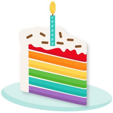 Rainbow Piece of Cake SVG scrapbook cut file cute clipart files for