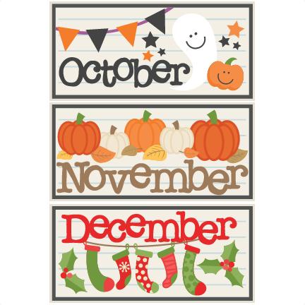 October November December Titles SVG scrapbook cut file ...