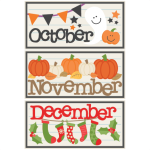October November December Titles SVG scrapbook cut file cute clipart files for silhouette cricut pazzles free svgs free svg cuts cute cut files