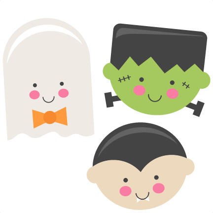 Cute Halloween Monsters Ghost Vampire Frankenstein SVG scrapbook ...