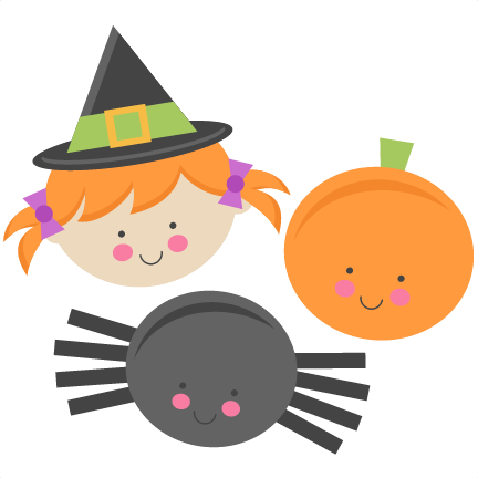 Cute Halloween Monsters Witch Pumpkin Spider SVG scrapbook cut ...